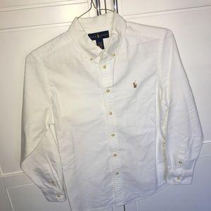 Boys Large Ralph Lauren White Oxford cloth shirt